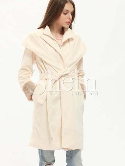 White Long Sleeve Pockets Coat