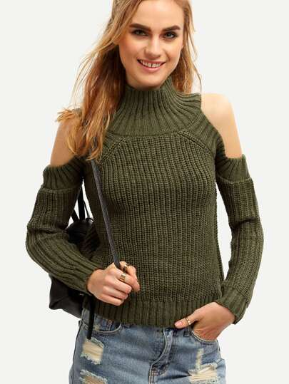 Army Green High Neck Cold Shoulder Sweater
