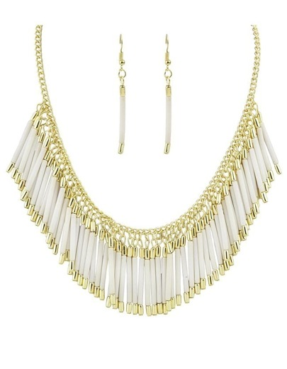 Beige Resin Tassel Long Jewelry Set