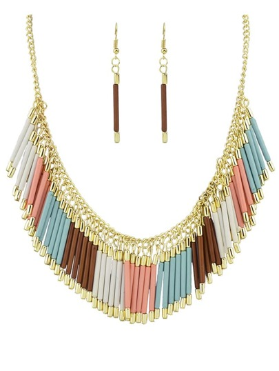 Beautiful Colorful Resin Tassel Long Necklace Earrings Jewelry Set
