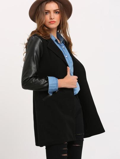 Black Stand Collar Pockets Slit Back Long Blazer
