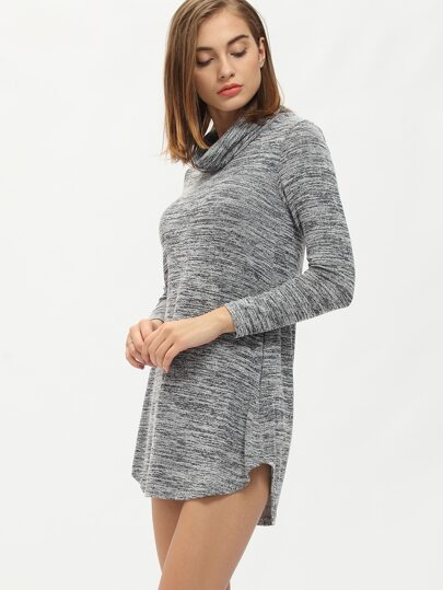 Grey Draped Neck Asymmetrical Shift Dress