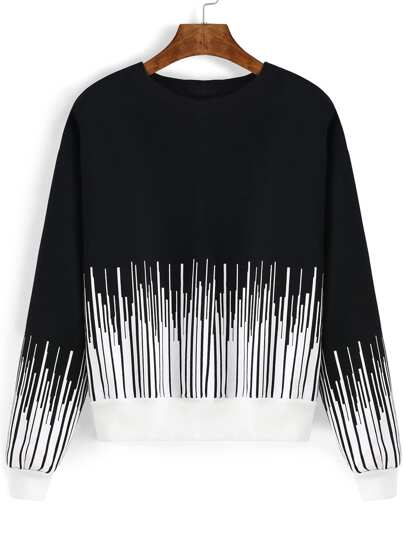 Black White Round Neck Vertical Stripe Sweatshirt