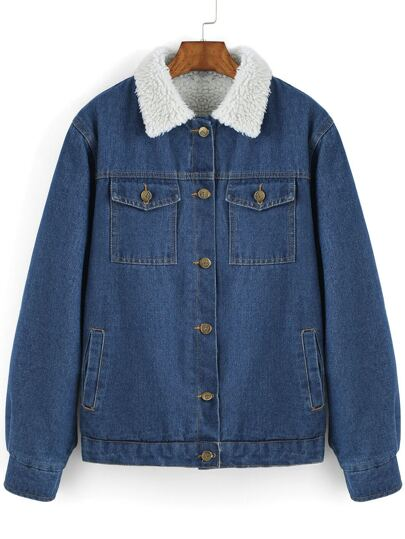 Blue Contrast Lapel Single Breasted Denim Coat