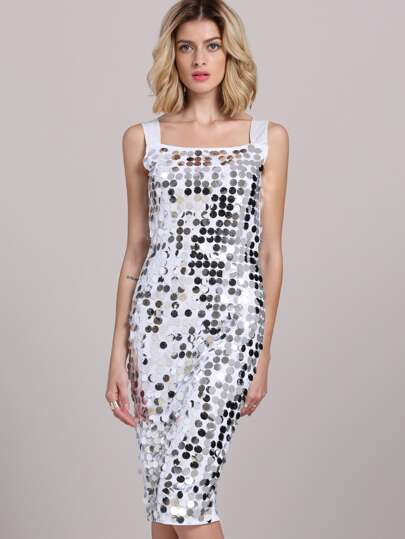 Silver Spaghetti Strap Sequined Sheath Dress
