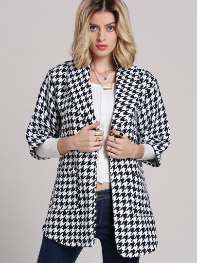 Black Lapel Houndstooth Pockets Blazer