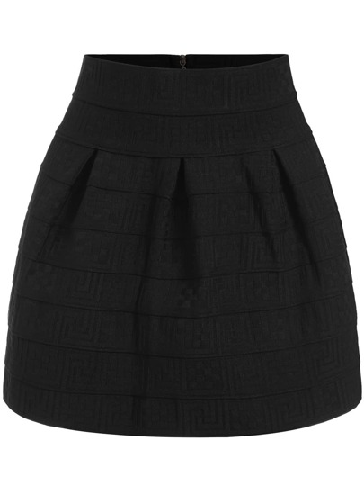 Black Geometric Obscure Flare Skirt