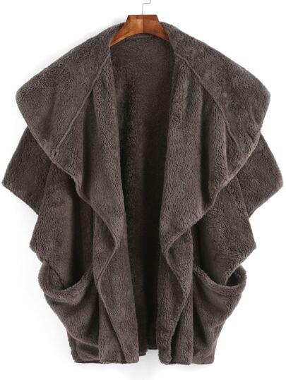 Grey Lapel Batwing Pockets Cape