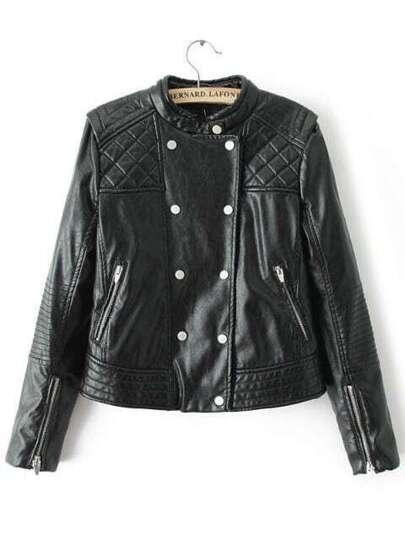 Jacket cuello mao estampado crop -negro