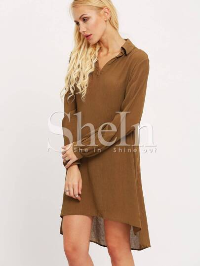 Army Green Long Sleeve Lapel Dress