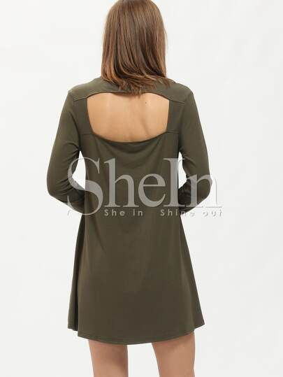 Army Green Round Neck Casual Dress