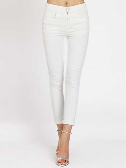 White Slim Denim Pant