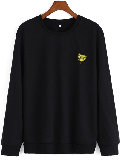 Banana Embroidered Black Sweatshirt