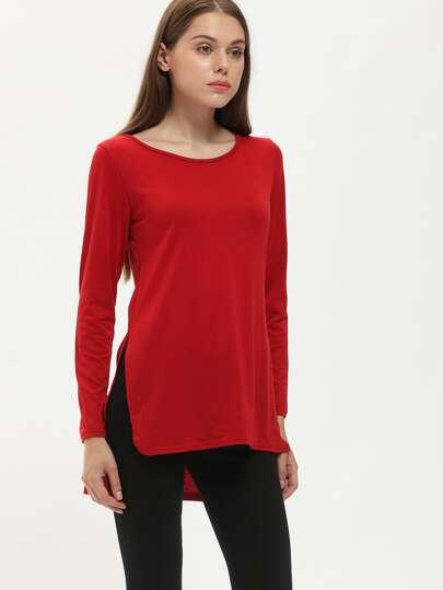 Burgundy Round Neck Split Dip Hem T-Shirt