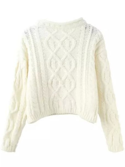 White Mock Neck Cable Knit Crop Sweater
