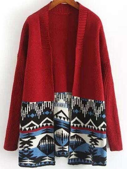 Red Long Sleeve Geometric Print Cardigan