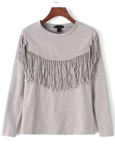 Camiseta cuello redondo flecos suelta -gris