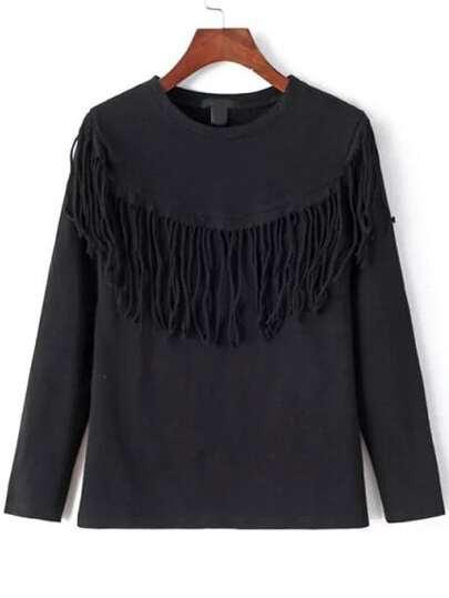 Camiseta cuello redondo flecos suelta -negro