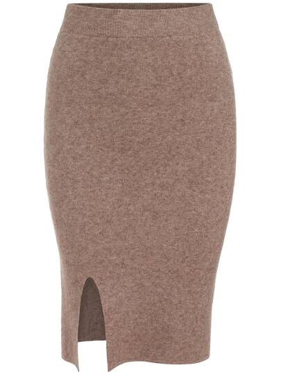 Camel Slim Split Knit Skirt