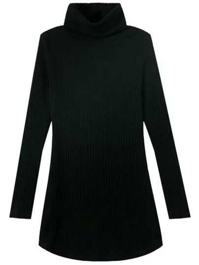 Black High Neck Long Sleeve Slim Sweater Dress