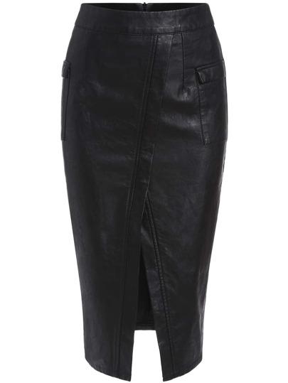 Black Slim Split PU Skirt