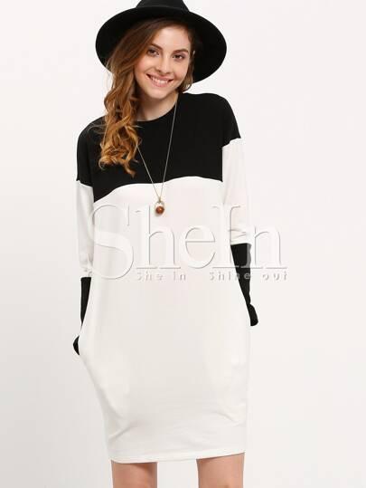 White Black Round Neck Color Block Dress