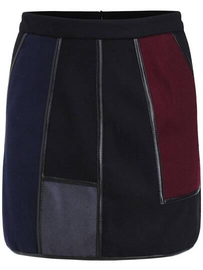Multicolor Contrast PU Leather Skirt