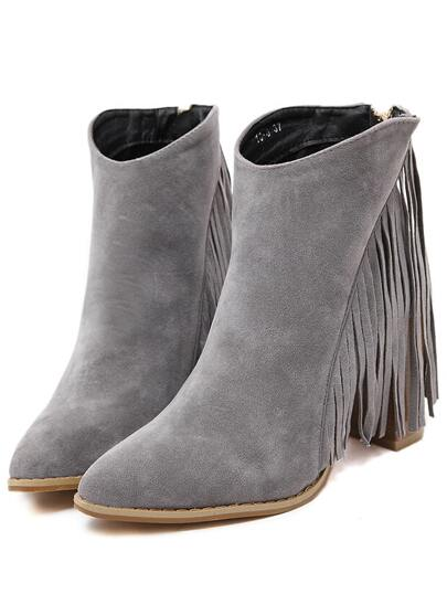 Bottines à talon haut à franges -gris