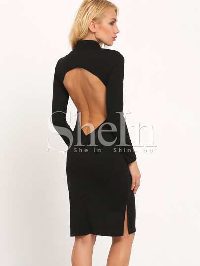 Black Round Neck Backless Split Dress
