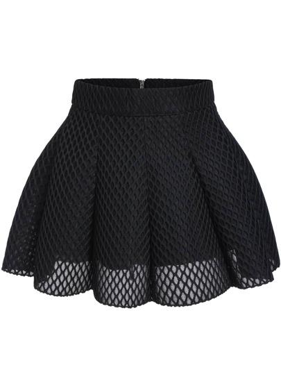 Black Mesh Flare Mini Skirt
