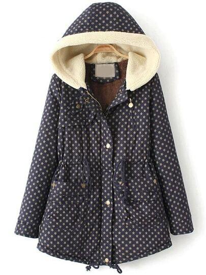 Manteau à capuche imprimé étoiles manches longues -bleu marine