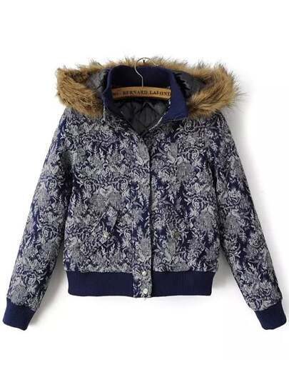 Navy Faux Fur Hooded Floral Crop Jacket