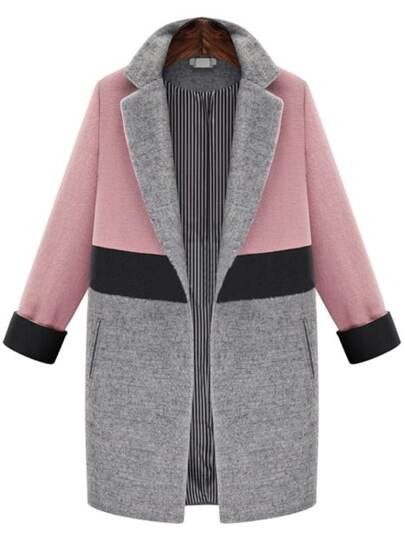 Notched Lapel Color Block Coat