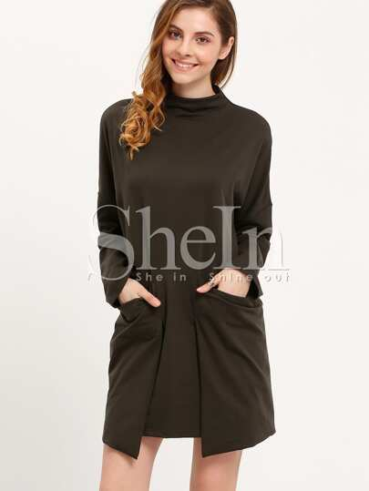 Dark Green Round Neck Pockets Dress
