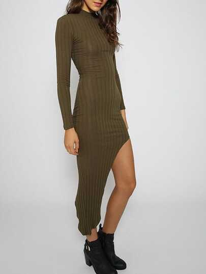 Army Green Long Sleeve Midriff Asymmetrical Dress