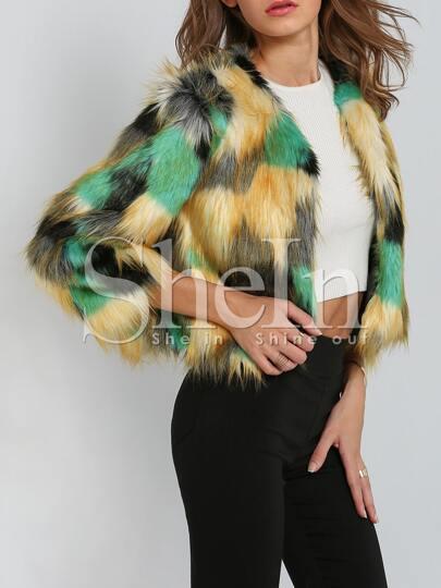 Multicolor Faux Fur Coat