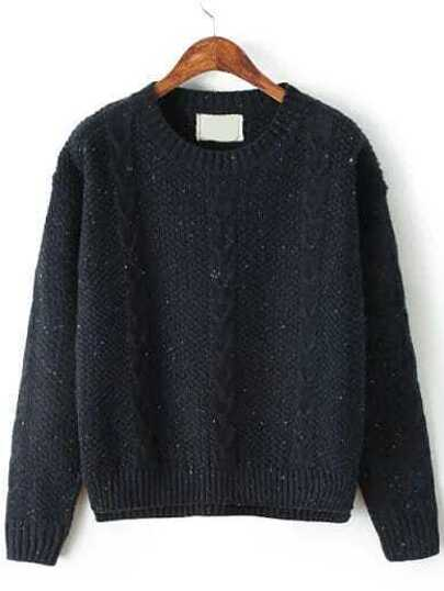Navy Round Neck Classical Cable Knit Sweater