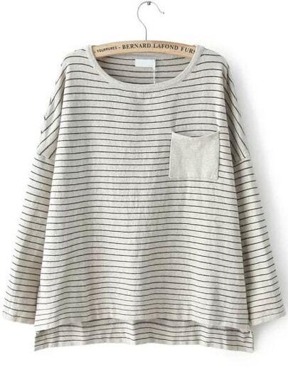 Suéter cuello redondo rayas bolsillo -gris claro