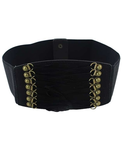 Black PU Leather Elastic Wide Belt