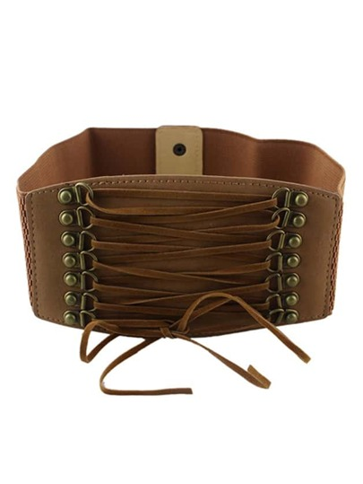Brown PU Leather Elastic Wide Belt