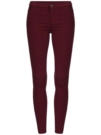 Red Skinny Elastic Thicken Pant