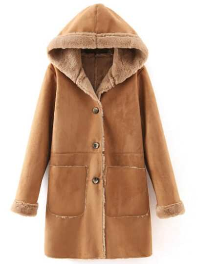 Khaki Hooded Single Breasted Pockets Coat