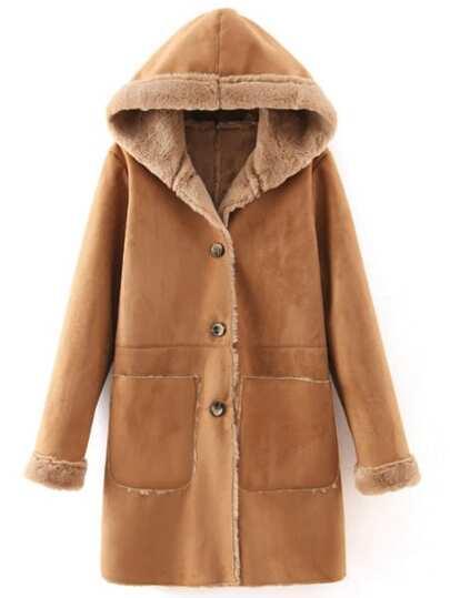 Khaki Hooded Single Breasted Pockets Coat
