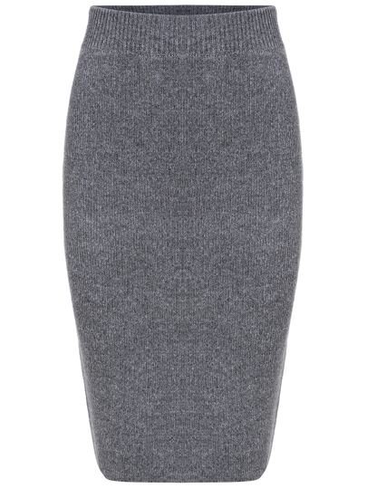 Grey Slim Split Sweater Skirt