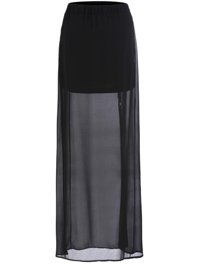 Black Split Sheer Chiffon Skirt