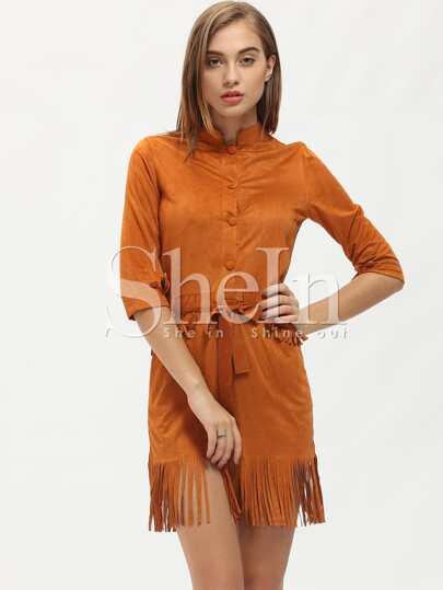 Brown Round Neck Tassel Dress