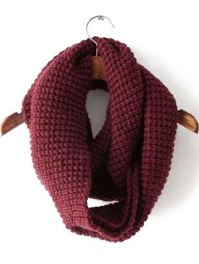 Burgundy Casual Knit Scarve