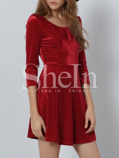 Red Round Neck A Line Dress