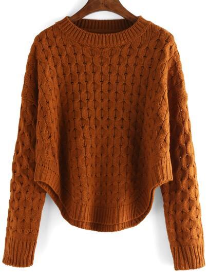 Khaki Round Neck Hollow Crop Sweater