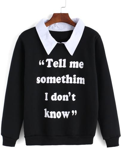 Black Contrast Collar Letters Print Sweatshirt